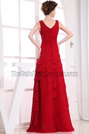Wunderschönes rotes Abendkleid mit V-Ausschnitt Ballkleid