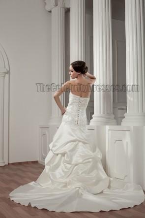 Wunderschönes trägerloses Perlen-A-Linien-Brautkleid zum Schnüren