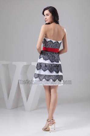 Wunderschönes A-Line Cocktailpartykleid aus weißer und schwarzer Spitze