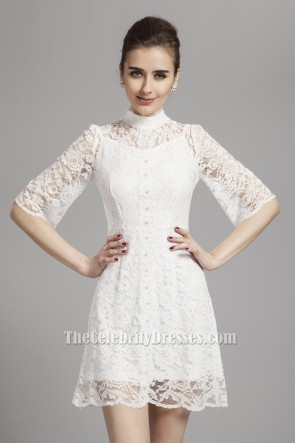 Gorgeous White Lace Short Mini Party Homecoming Dresses TCDBF043