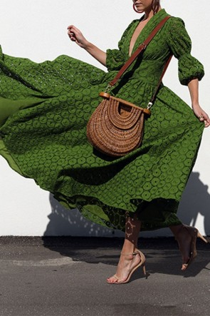Green V-neck Lace Swing Dress