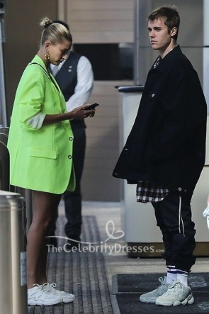 Hailey Baldwin Oversized Lapel Collar Neon Green Blazer