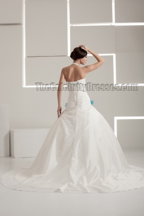 Halter Ball Gown Embroidered Lace Up Wedding Dresses