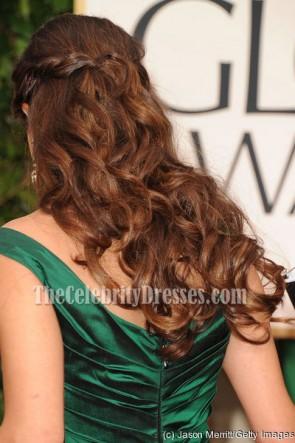 Hannah Simone Dunkelgrünes Formales Kleid 69. Jährliches Goldenes Globen Roter Teppich