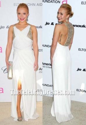 Hayden Panettiere weißes Chiffon- Abend-Abschlussball-Kleid 2011 Oscars