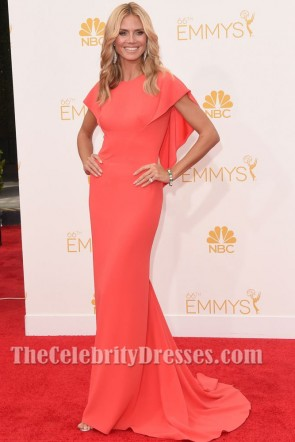 Heidi Klum looked Amazing in this watermelon gown at The 2014 Emmy Awards took place on Monday, August 25, 2014 at the Nokia Theatre in Downtown LA.