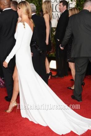 Heidi Klum Weiße Abendkleid 2013 Golden Globe Awards Roter Teppich