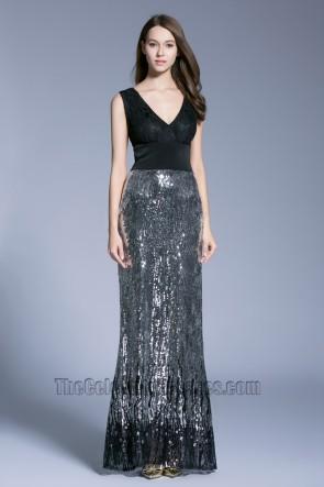 New Style Black Long V-neck Prom Dress sleeveless sequined evening dress 6
