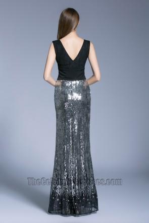 New Style Black Long V-neck Prom Dress sleeveless sequined evening dress TCDBF5008