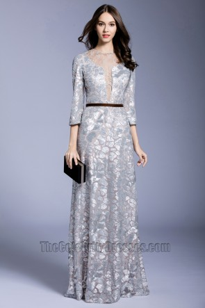 New Ninth Sleeve Large Size Long Dinner Dress Sequin Party Cocktail Prom Gown 1