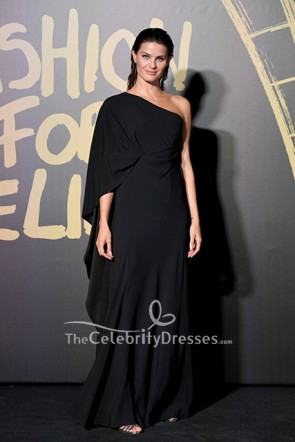 Isabeli Fontana Black One Shoulder Dress 2019 Fashion for Relief London  TCD8639