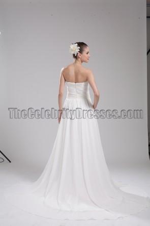 Elegantes elfenbeinfarbenes Chiffon trägerloses Brautkleid