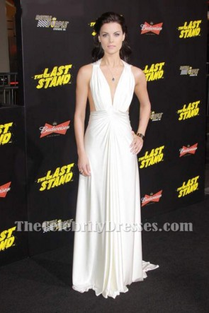 Jaimie Alexander's Deep V-neck Evening Dress White Prom Formal Gown 7