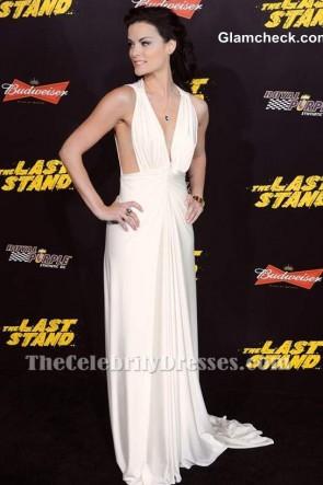 Jaimie Alexanders tiefes V-Ausschnitt-Abend-Kleid-weißes Abschlussball-formales Kleid