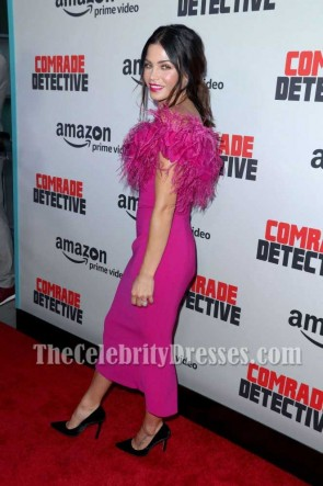 Jenna Dewan fuchsia off-the-Schulter Hülle Partei Kleid Premiere von Comrade Detective