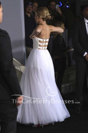 Jennifer Lawrence White And Ivory Strapless Tulle Ball Gown Dress TCD7511