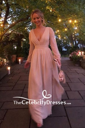 Jennifer Lawrence Nude Low V-neck High Slit A-line Evening Dress Engagement Party 2019 TCD8409