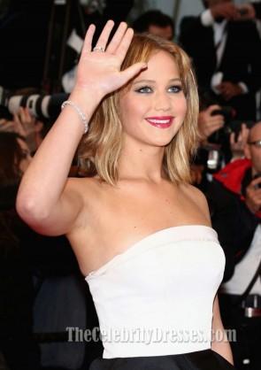 Jennifer Lawrence weißes und schwarzes formales Kleid Cannes Film Festival Roter Teppichkleid