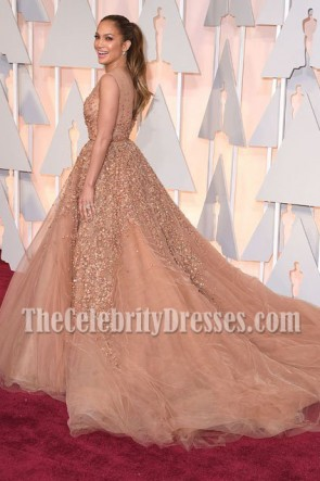 Jennifer Lopez Deep V-Ausschnitt Perlen Ballkleid Oscars 2015 zeigt Abendkleid