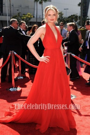 Jennifer Morrison Red Chiffon Prom Dress 2012 Creative Arts Emmy Awards