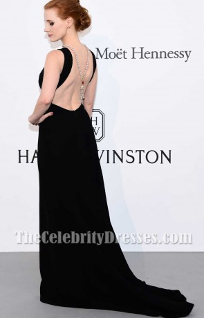 Jessica Chastain Black Backless Ärmelloses Kleid 2017 Amfars Kino gegen AIDS Gala