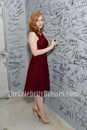 Jessica Chastain Burgundy Party Kleid AOL's Build Lautsprecher Serie Crimson Peak 2015