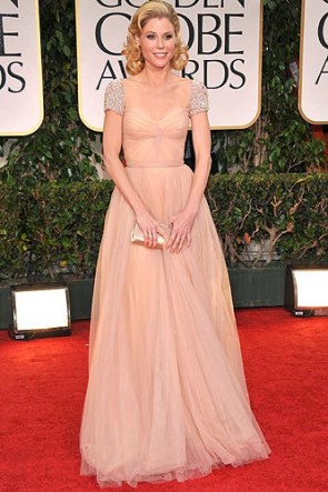 Julie Bowen Champagne Prom Gown Formal Dress 69th Annual Golden Globe Awards