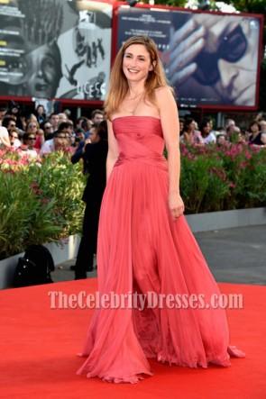Julie Gayet Strapless Prom Dress Opening Ceremony 71st Venice Film Red Carpet
