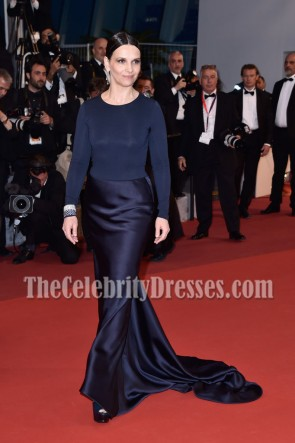 Juliette Binoche Navy Long Sleeves Evening Prom Gown 69th annual Cannes Film Festival 1