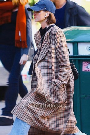 Kaia Gerber Vintage Long Belt Plaid Coat