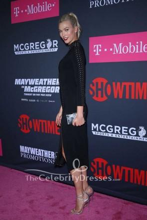 Karlie Kloss - Schwarzes, hochgeschnittenes Partykleid Mayweather vs. McGregor