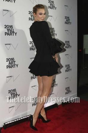 Karlie Kloss sexy schwarzes kleines Cocktailkleid mit kurzen Ärmeln Whitney Museum of American Ar