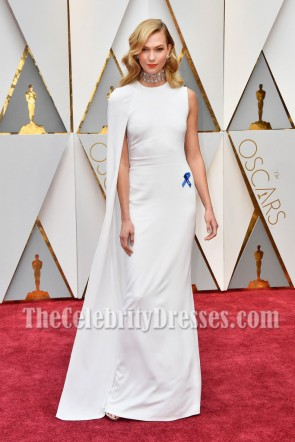 Karlie Kloss 2017 Oscars Evening Dress Caped White Long Evening Prom Gown 6