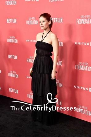 Kate Mara Black Chiffon Halter Strapless Evening Dress SAG-AFTRA Foundation Patron of the Artists Awards Red Carpet TCD7575
