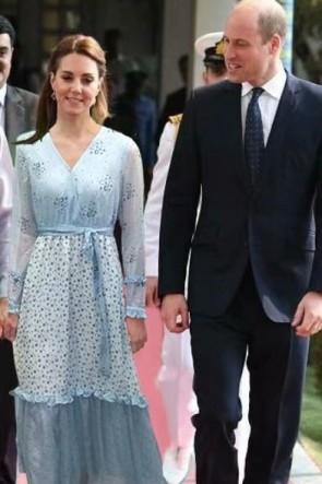 Kate Middleton Blue Floral Print Maxi Dress in Pakistan