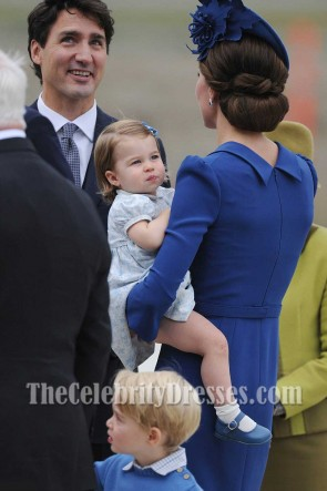 Kate Middleton Blue - Langärmliges, kurzes, figurbetontes Kleid Royal Canadian Tour