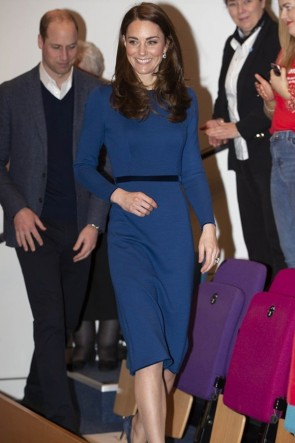 Kate Middleton Blue Short Dress Visiting Northern Ireland 2019