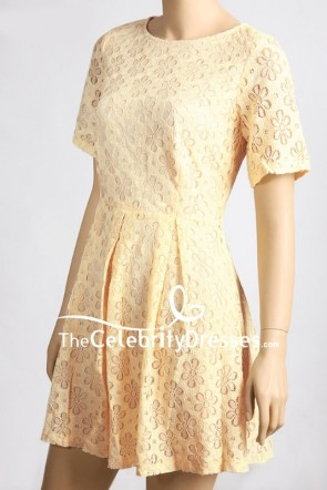 Kate Middleton Inspired Yellow Lace Cocktail Dress With Sleeves TCD8029