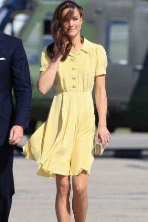 Kate Middleton Prinzessin Narzisse Einreiher A-Linie Kleid