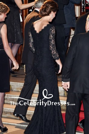 Kate Middleton Schwarz Spitze Formell Abendkleid Mit Langen Ärmeln 2014 Royal Variety Performance
