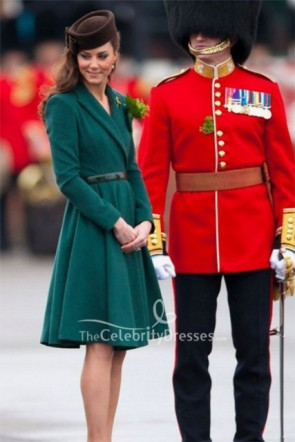 Kate Middleton Drak Green A-line Belt Dress
