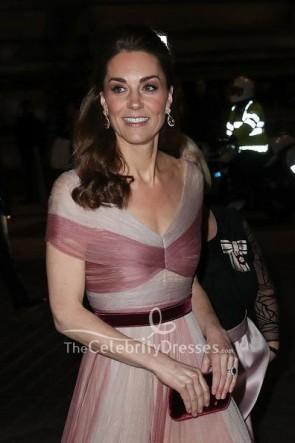 Kate Middleton Two Tones Rüschenprinzessin Kleid