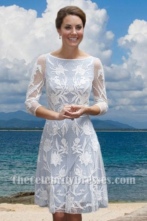 Kate Middleton Princess Lace Short Dress With Long Sleeves TCD7449
