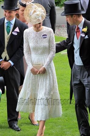 Kate Middleton weißes Spitze-Kleid mit langem Hülsen-Partei-Kleid Royal Ascot 2017