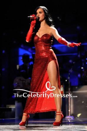 Katy Perry - Rotes Pailletten-Trägerlos Oberschenkelhoch geschlitztes Abschlussball-Cocktailkleid VH1 Divas Salute the Troops