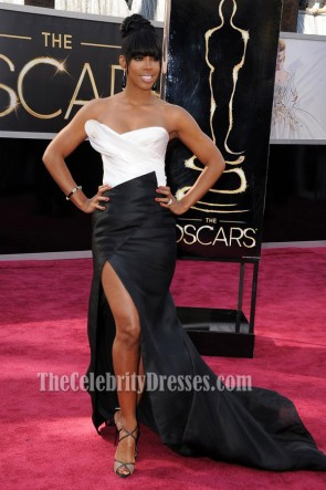 Kelly Rowland White And Black Strapless Formal Dress 2013 Oscar Red Carpet