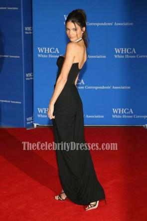 Kendall Jenner Schwarzes trägerloses Abendkleid 102. Weißes Haus Korrespondentenverband Abendessen