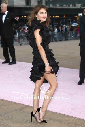 Keri Russell Schwarzes One-Shoulder-Kleid mit Rüschen und Spitze Sexy Ballkleid New York City, Herbstmode-Gala 2017
