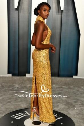 Kiki Layne Gold Sequined Sheath Formal Dress TCD8864