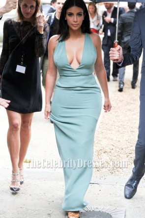 Kim Kardashian Sexy Deep V-Neck Floor Length Evening Dresses